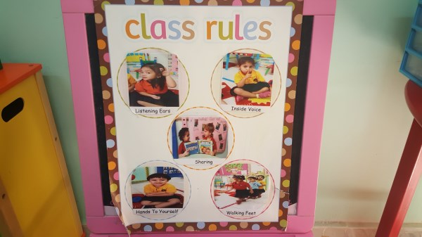 Class rules for all playrooms and classrooms.