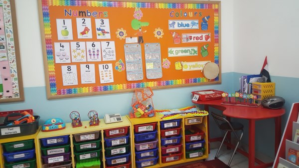 Creative notice boards with a focus on colours, shapes, numbers and letters.