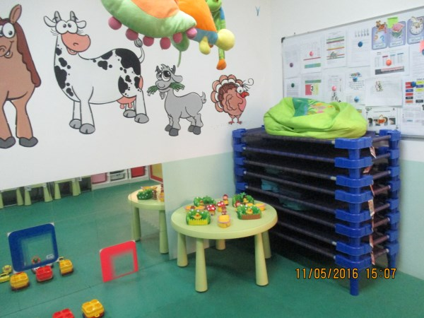 Individual sleeping beds and blankets for each toddler.