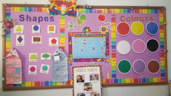Notice boards for colours and shapes