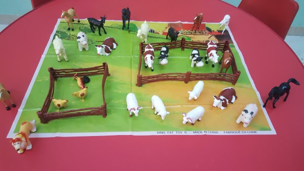 Small world play with farm animals