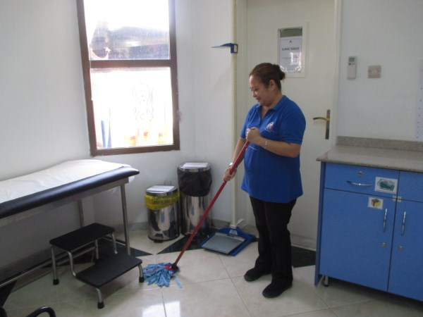Cleaning the nurse clinic