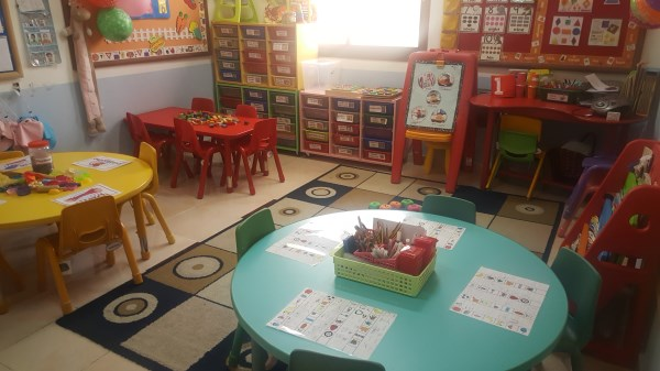 Colourful classroom set up.