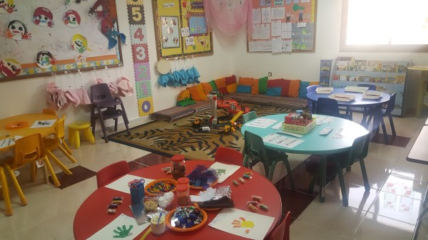 Colourful classroom set up