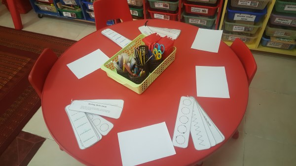 Literacy table - pre-writing skills.
