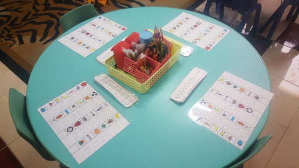 Literacy table - reading and writing